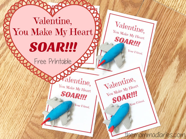 You Make My Heart Soar Printable Airplane Valentines
