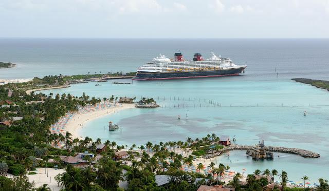Disney Wonder docked at Castaway Cay