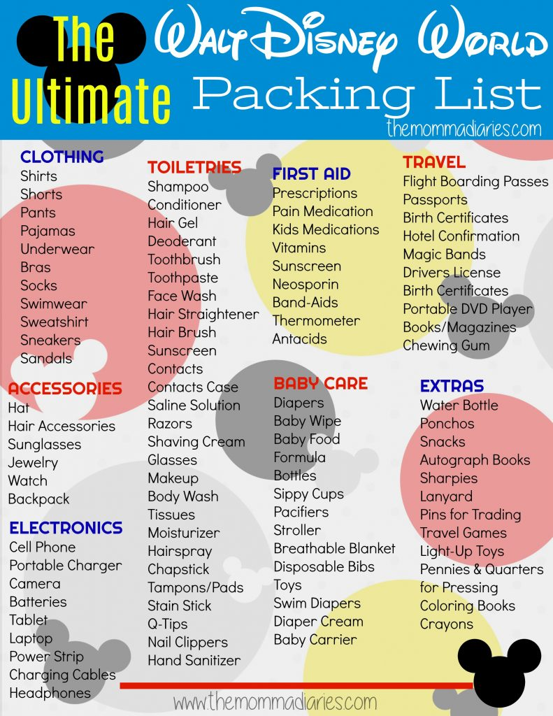 The Ultimate Disney Packing List Free Printable The Momma Diaries