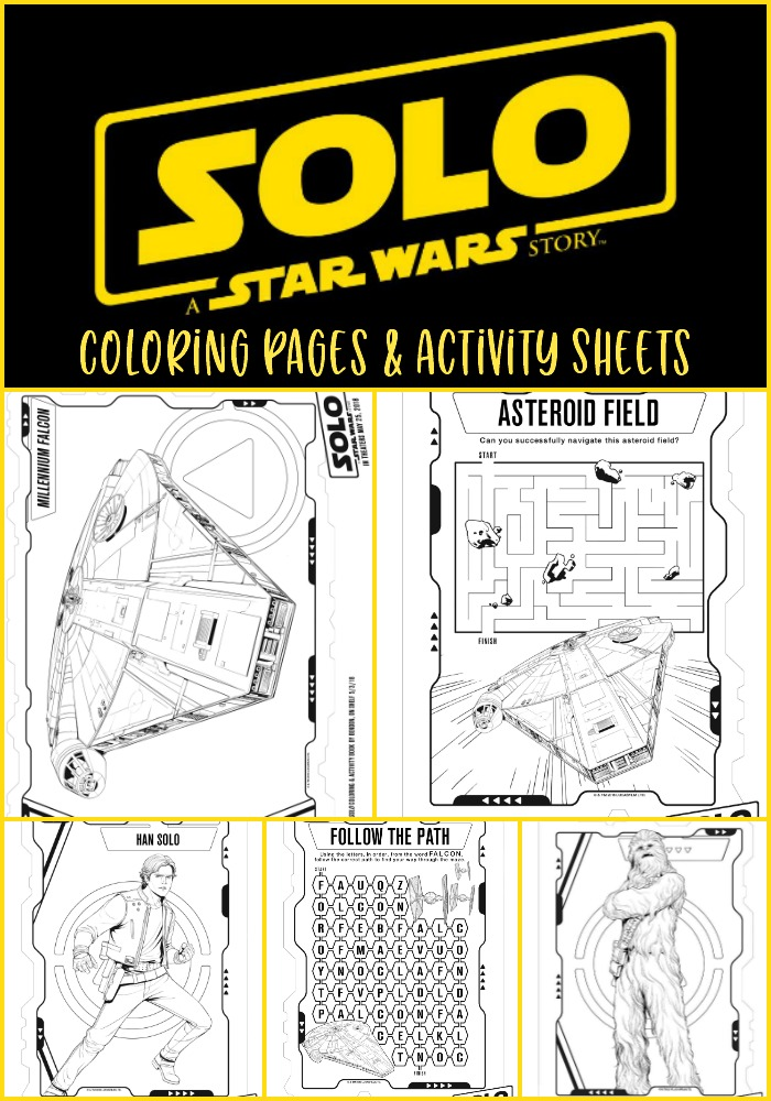 Star Wars Coloring Pages, star wars activity sheets, star wars word search, star wars maze, #HanSolo, #HanSoloEvent