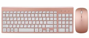 Rose gold wireless keyboard and mouse