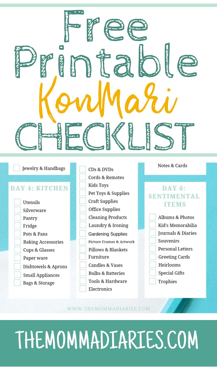 Free Printable KonMari Checklist, Free Konmari Checklist, Printable Konmari Checklist, Konmari Checklist, #KonMari, #SparkJoy #TidyingUp Tidying up with Marie Kondo, decluttering tips