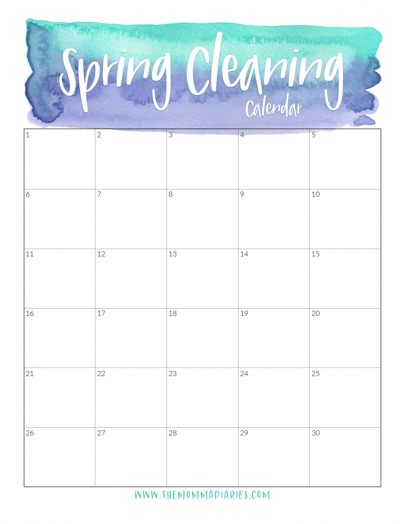spring cleaning calendar, printable spring cleaning calendar, free printable spring cleaning calendar