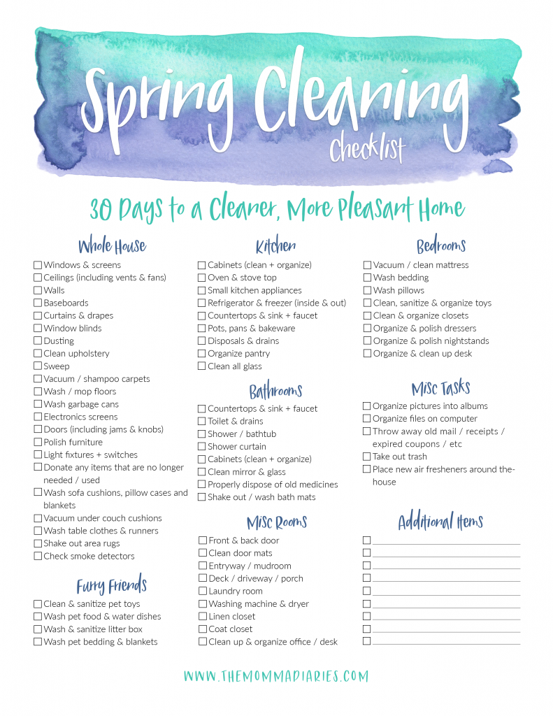 printable spring cleaning checklist, spring cleaning checklist, free printable spring cleaning checklist, konmari method, #konmari, #springcleaning