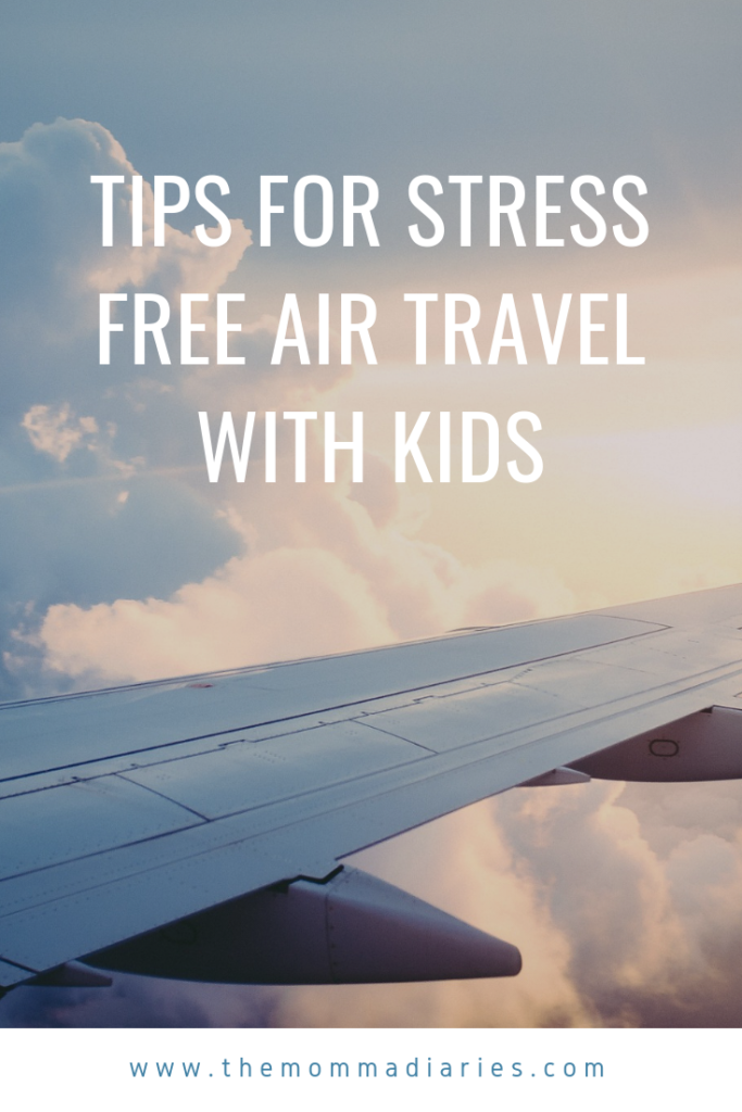You'll love these tips for stress free air travel with kids. Flying with kids can be easy if you're prepared. #familytravel, #travelwithkids, #flyingwithkids