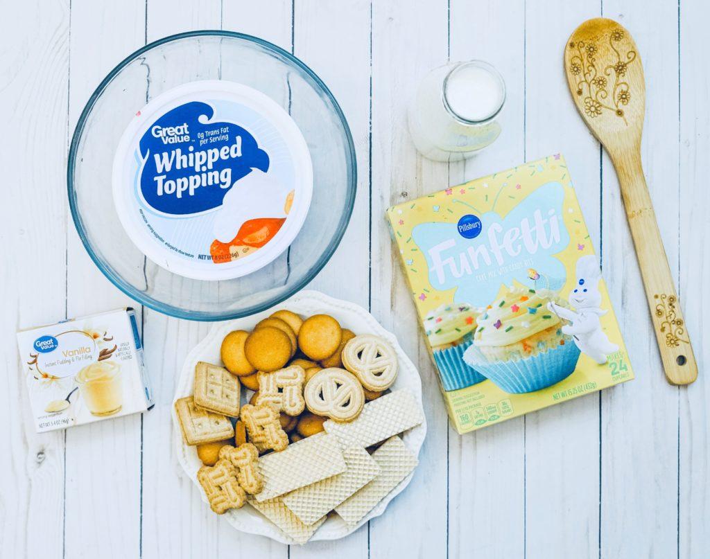 Ingredients for funfetti cake batter dip