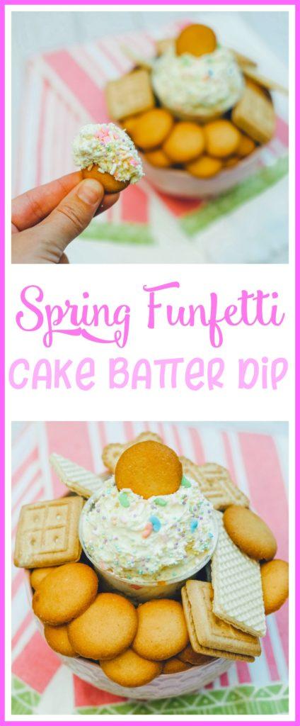 Spring Funfetti Cake Batter Dip, Funfetti Dip, Funfetti Cake Batter Dip, Cake Batter Dip, #EasterDesserts, #SpringDesserts, Nilla Wafer Desserts
