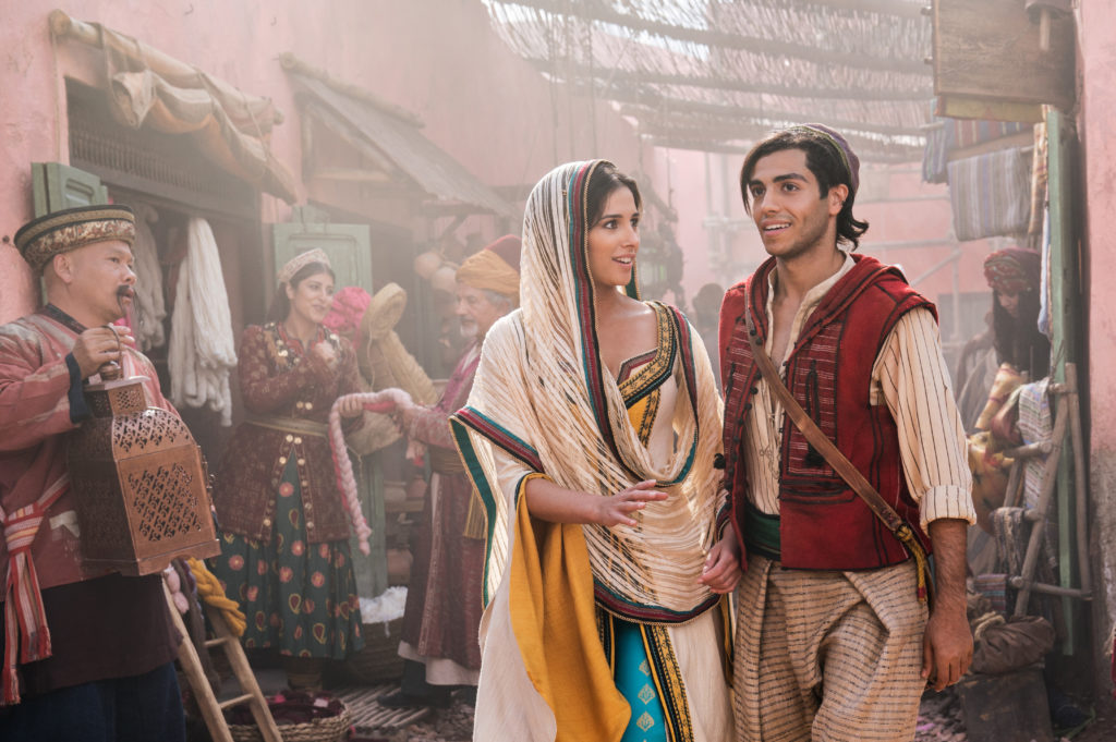 Mena Massoud as Aladdin and Naomi Scott as Jasmine