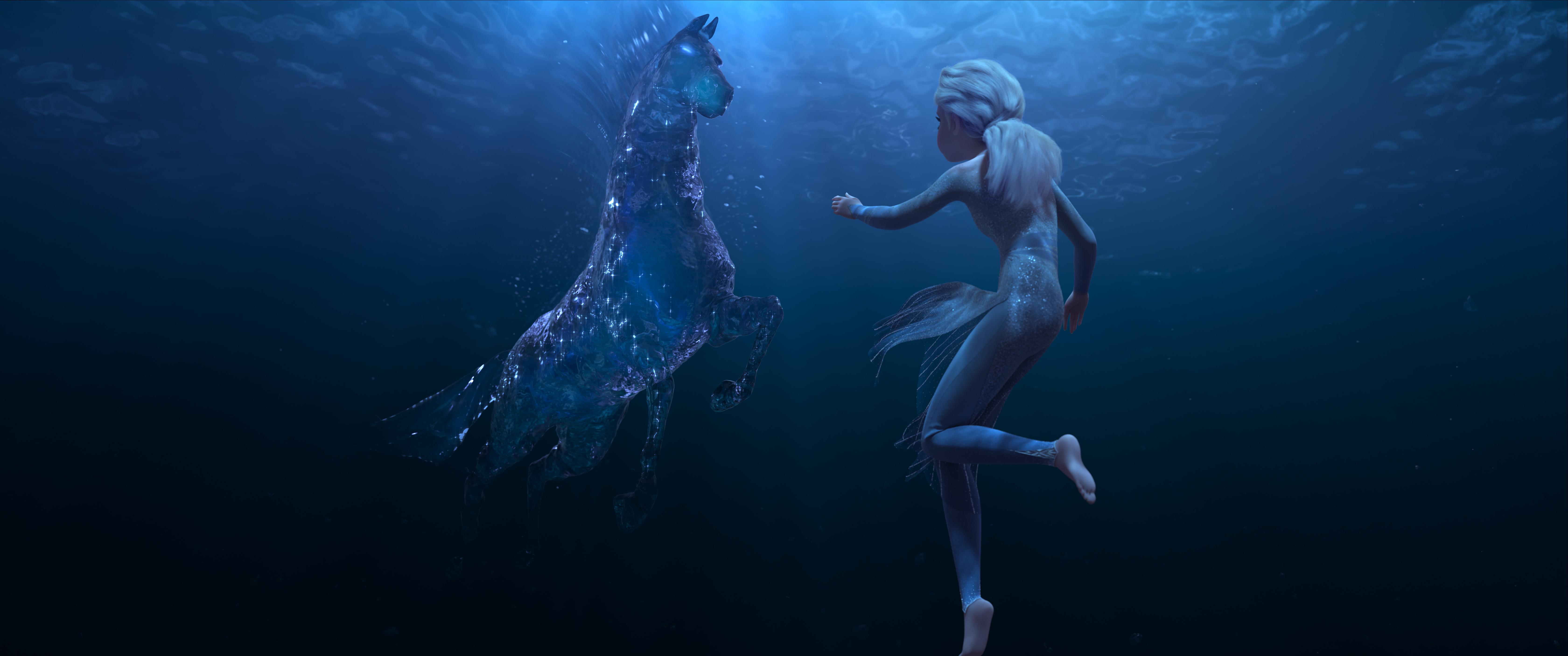Elsa and Nokk, a mythical water spirit in Frozen 2