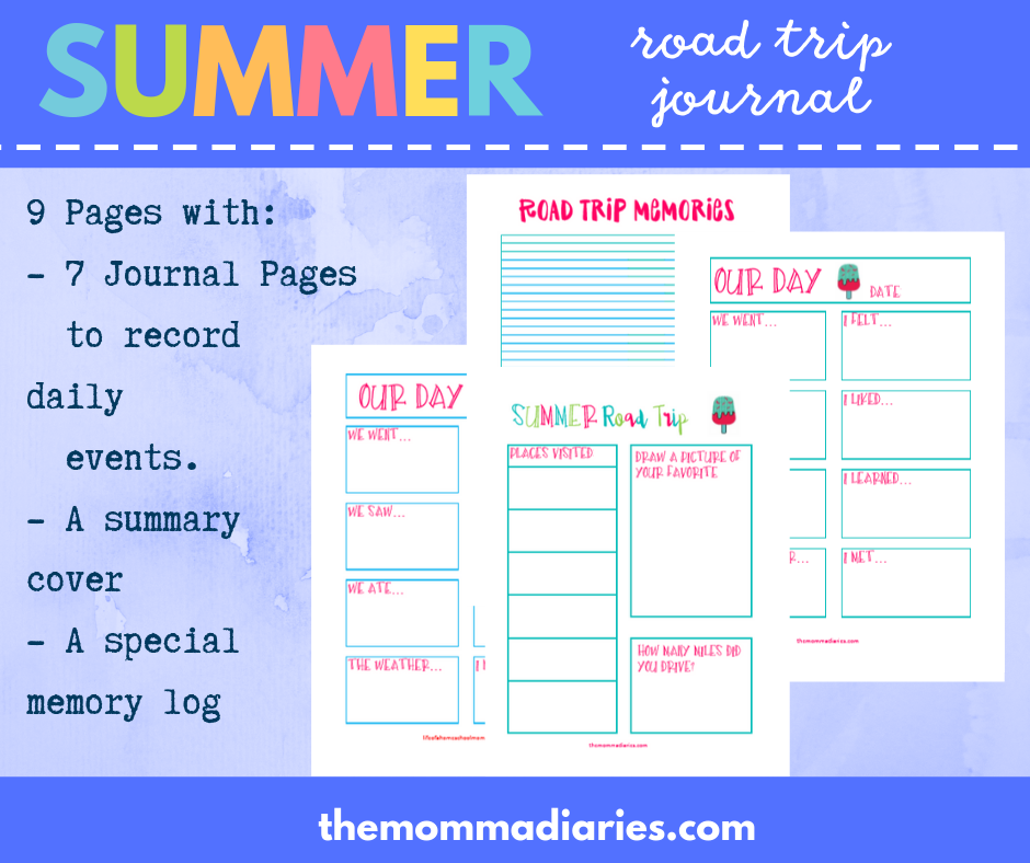 summer road trip journal, printable summer road trip journal