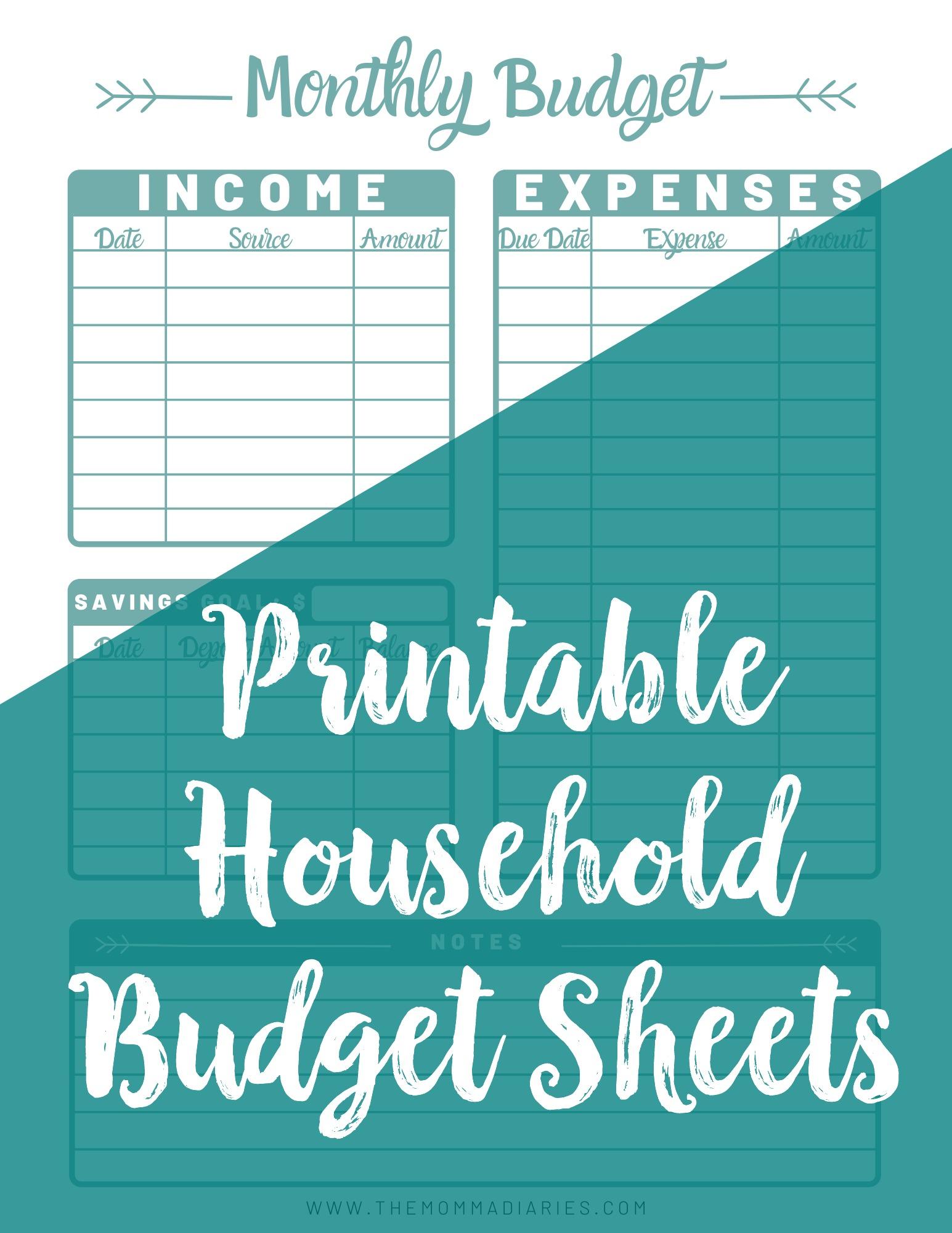 Printable household budget sheets