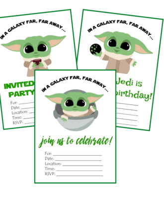 baby yoda party printable invitations