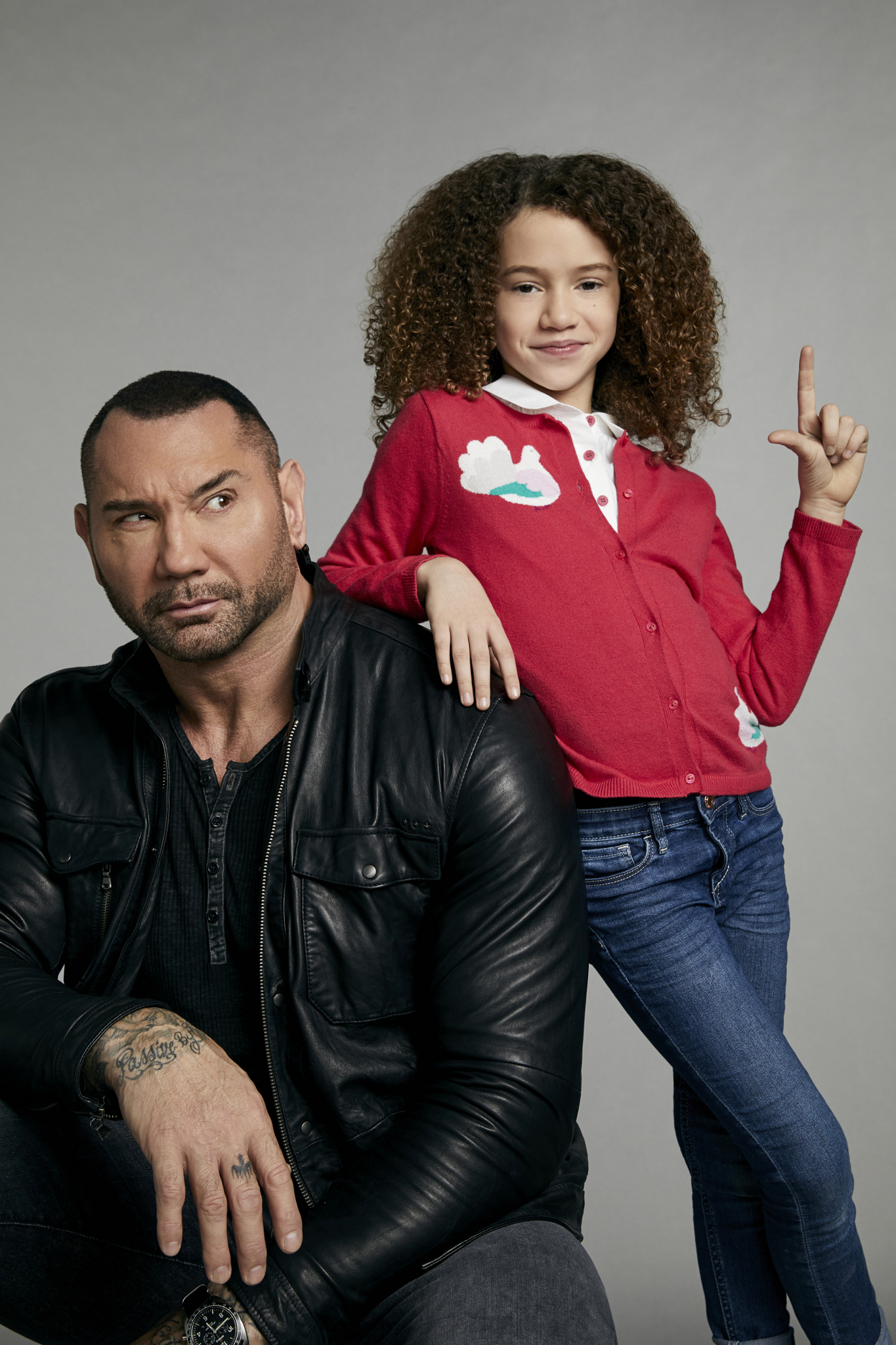 Chloe Coleman and Dave Bautista
