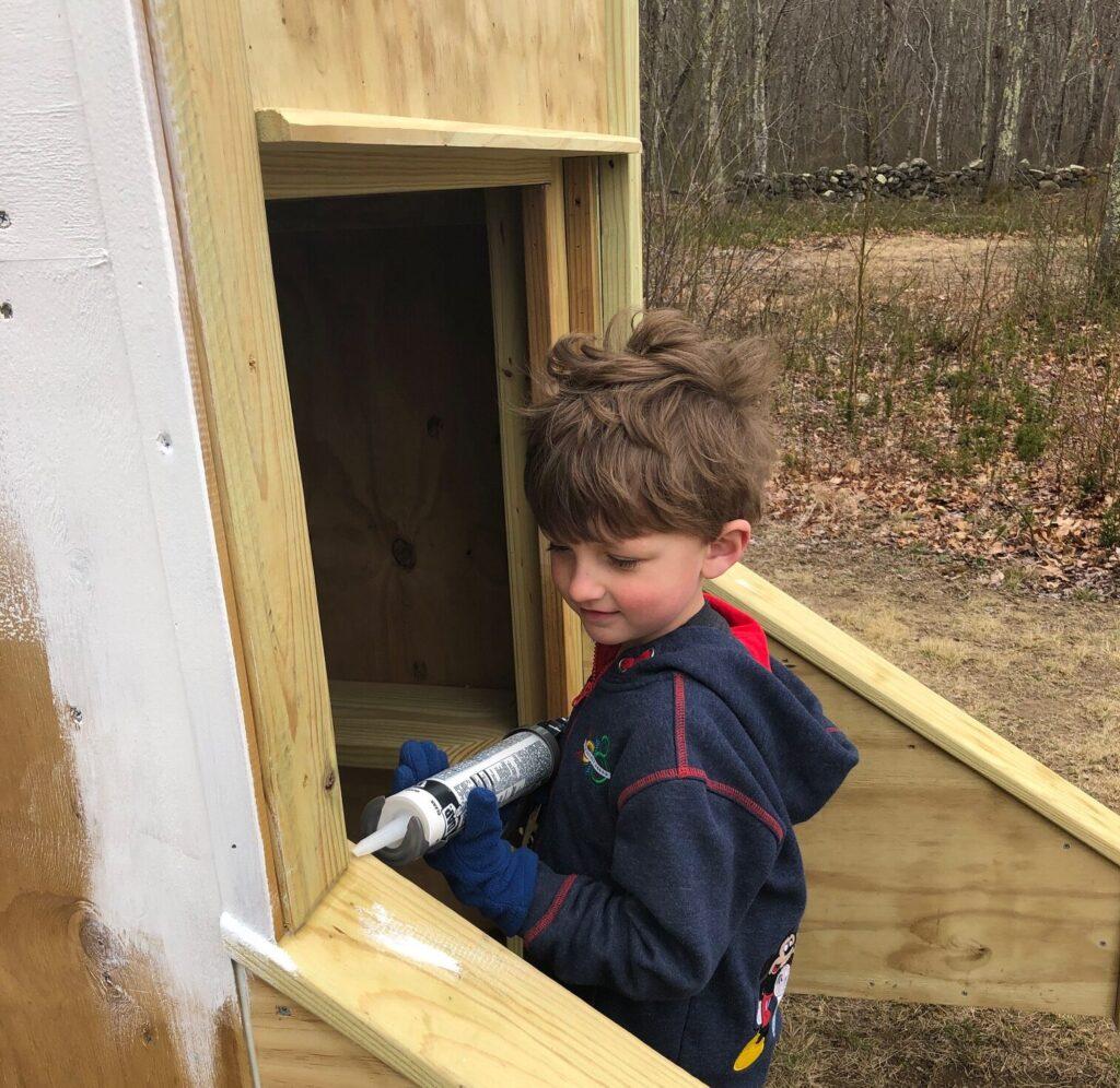 Kids helping outside