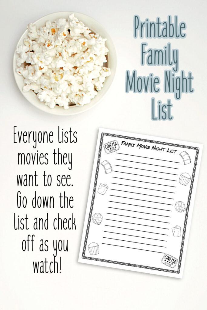 Printable Family Movie Night Bucket List
