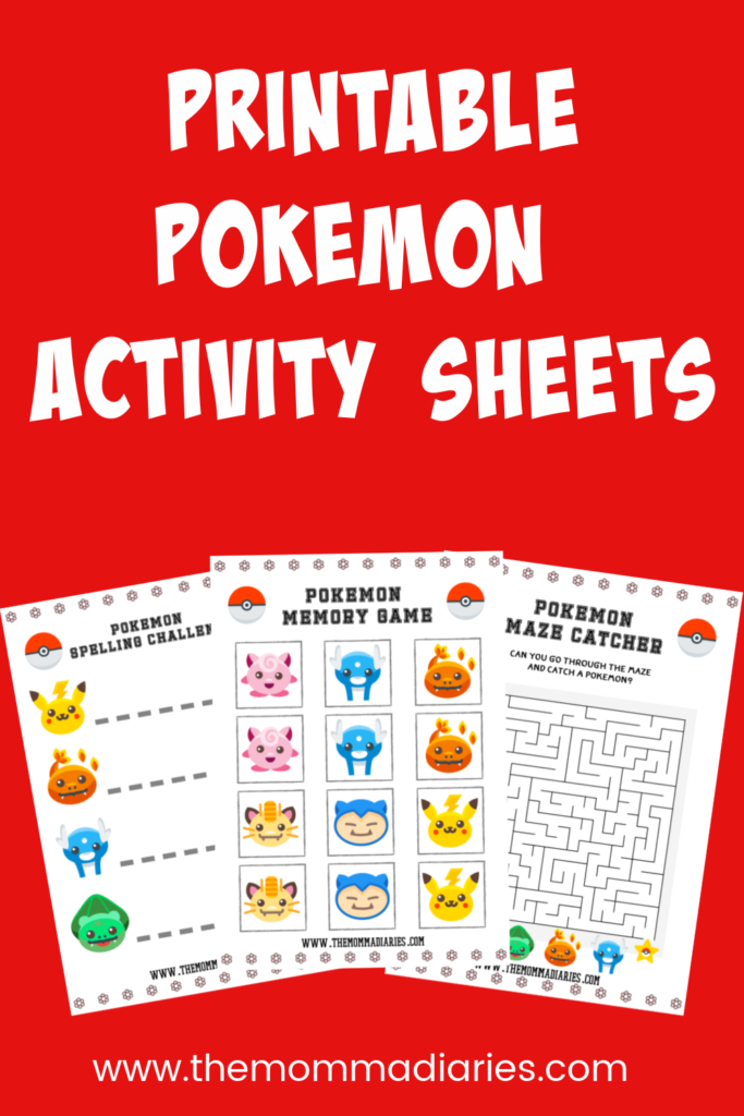 Printable Pokemon Activity Sheets