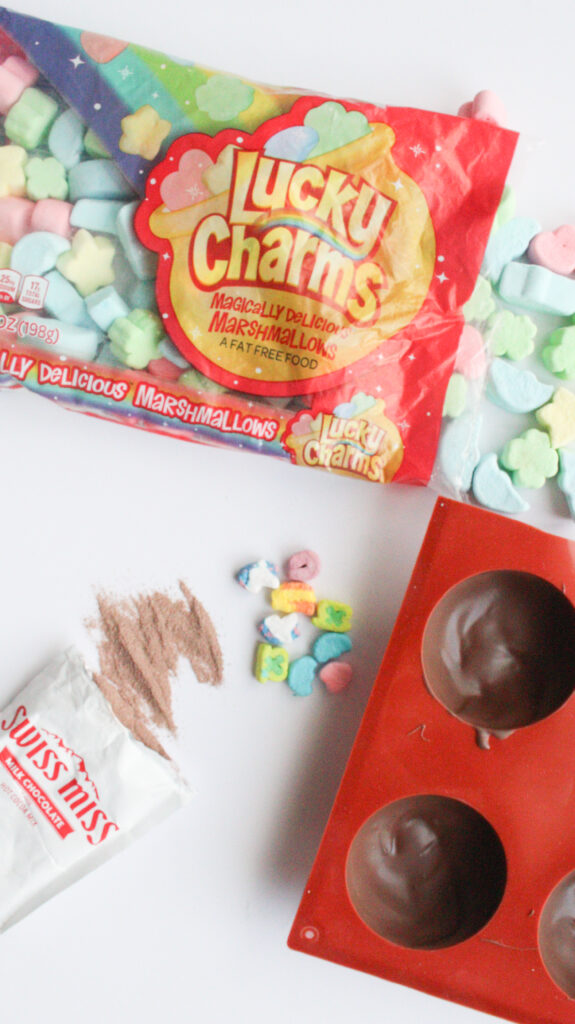 Ingredients for Lucky Charms Hot Chocolate Bombs